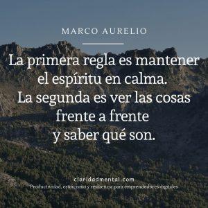 Frases de motivación personal Marco Aurelio La primera regla es mantener el espíritu en calma. La segunda es ver las cosas frente a frente y saber qué son